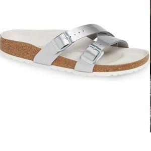 Birkenstock Yao Silver Sandals Size 7